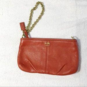 Coach Pebble Leather Zip Wristlet Light Orange